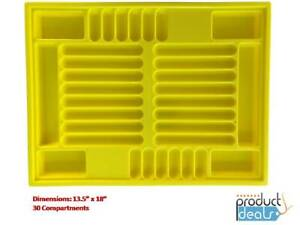 T 0170 Y Yellow Plastic Parts Tray For Valve And Body Parts 13 5x18 30sections