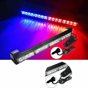 16 Led Emergency Warning Light Bar Flashing Truck Police Strobe Lamp Blue Red