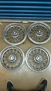 Set Of 4 Buick Wire Spoke Hubcaps Hub Caps W Round Centers Oem