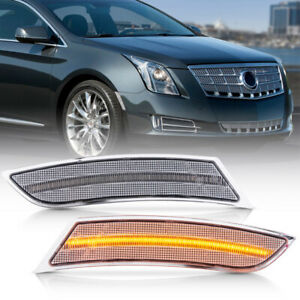 Clear Lens Amber Led Front Bumper Side Marker Light For 2013 2017 Cadillac Xts