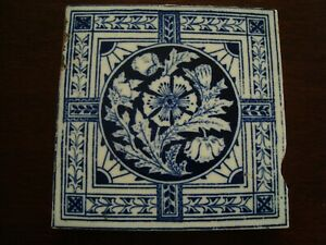 Stylish Aesthetic Minton Hollins Blue And White Tile 20 394