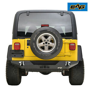 Eag Black Rear Bumper With Hitch Receiver D Ring Fit 87 06 Jeep Wrangler Tj Yj