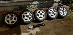 Five Oem Ford Pony 16x7 Aluminum Foxbody Mustang Wheels 4x108 W tires