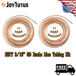 Steel Copper Nickel Brake Line Tubing 3 16 Od 25 Ft Coils W 16pcs Fittings Kit