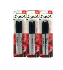 Sharpie Fine Point Permanent Markers Black Lot Of 3 2 packs 6 Pens Total 30162
