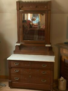 Antique Dresser With Marble Top And Mirror