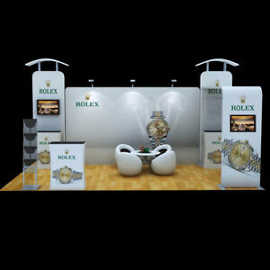 20ft Portable Fabric Trade Show Display Booth Exhibition With Counter Tv Bracket