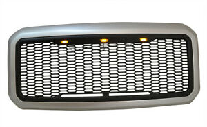For 11 16 Ford F250 F350 Super Duty Painted Ingot Silver Front Bumper Grille New