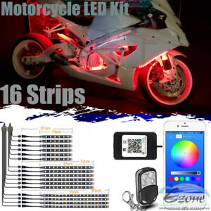 16 Motorcycle Led Strip Lights Kit Neon Glow With Bluetooth Control Music Active