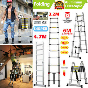 10 5ft 16 5ft Aluminum Telescopic Collapsible Loft Folding Attic Stairs Ladder