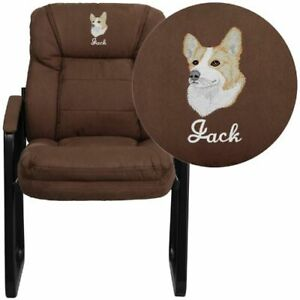 Embroidered Brown Microfiber Executive Side Chair With Sled Base