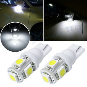 2pcs 6000k Xenon White 168 194 2825 T10 Led Bulbs For Under Mirror Puddle Lights