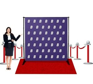 Step Repeat Vinyl Banner Stand Telescopic Backdrop Tradeshow Expo Display