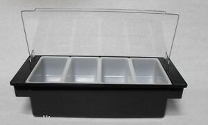 Black Plastic Fruit Tray Bar Top Garnish Center 4 pint Condiment Dispenser Caddy