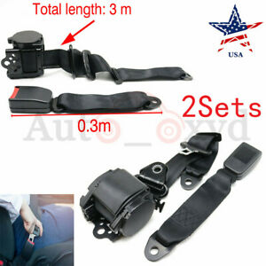 2 Universal 3 Point Retractable Seat Belts For Jeep Cj Yj Wrangler 1982 1995 Usa