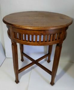 Vintage Round Solid Wood Pedestal Table Regency Empire Style