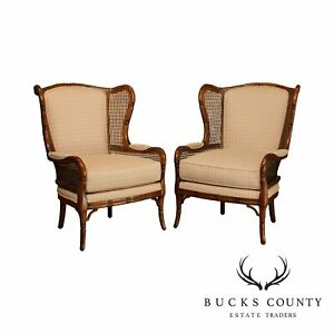 Ethan Allen Faux Bamboo Pair Cane Side Wing Chairs