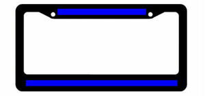 Reflective Thin Blue Line Support Police Black License Plate Frame Top N Bottom