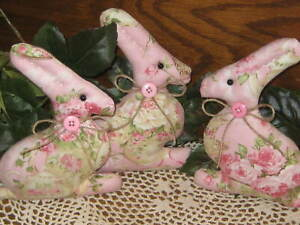 3 Rabbits Country Easter Decor Wreath Accents Shabby Tiered Tray Fillers