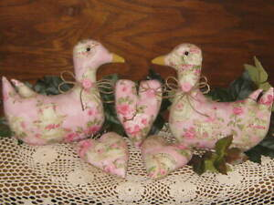 Ducks Hearts Country Decor Shabby Pink Rose Wreath Accents Fabric Handmade