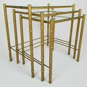 Vintage Faux Bamboo Gold Metal Glass Top Nesting Tables Chinese Chippendale