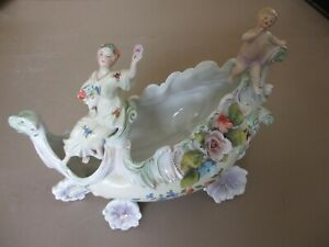 Antique Unmarked German Volkstedt Porcelain Figurine Chariot Carriage W Putti
