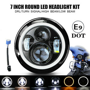 Motorcycle 7 Led Projector Amber Halo Headlight For Harley Street Glide Softail