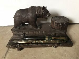 Vintage Carved Black Forest Bear With Inkwell And Pen Rest