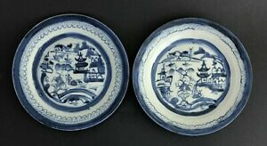 Pair Of Chinese Export Blue White Porcelain Plate 19th Century