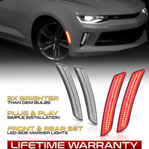 4 piece Full Red Led Side Marker Lights Fender Lamp For 2016 2020 Chevy Camaro