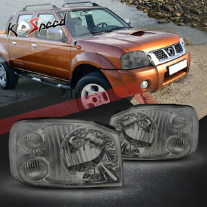 2x Smoked Housing Clear Corner Bumper Headlight lamps For 01 04 Nissan Frontier