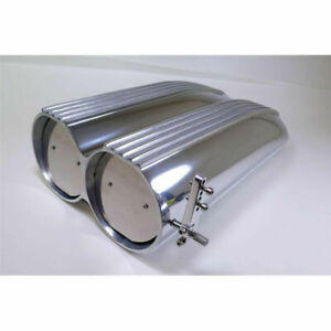 Polished Aluminum Finned Top Shotgun Intake Air Scoop Single Dual Carb Setup