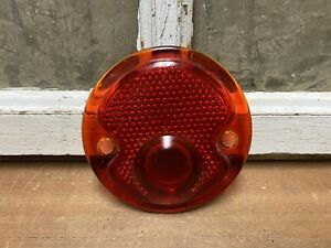 Vintage Red Glass Reflector Lens Old Tractor Hot Rat Rod Car Light Auto Part