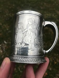 Antique Sterling Silver Christening Cup Mug Fabulous Ornate Design Dated 1885