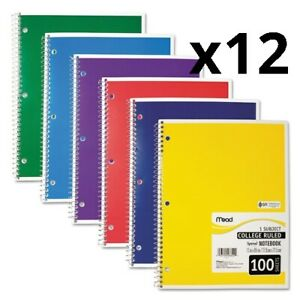 Spiral Notebook 1 Subject Medium college Rule Assorted Color Covers 11 X 8