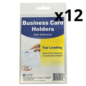Self adhesive Business Card Holders Top Load 3 1 2 X 2 Clear 10 pack Pack