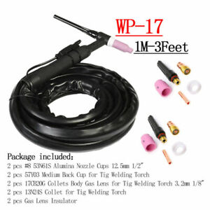 Wp17 Tig Welding Torch Complete Flexible Head Air Cooled Consumables Supply