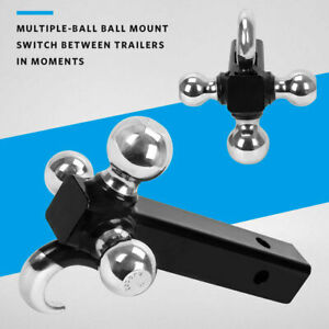Triple Tri Ball Tow Hook Trailer Hitch 2 Receiver Mount 1 7 8 2 2 5 16