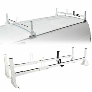 Ladder Roof Racks Steel White Rack Fits Chevy Express Fullsize Van 2 Bar 1996 Up