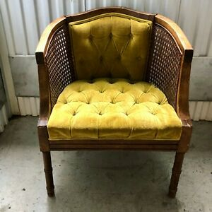 Vintage Mid Century Modern Cane Chair With Mustard Yellow Tufted Velvet Fabric
