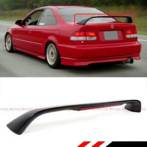 For 96 00 Honda Civic 2dr Coupe Em Ej Si Glossy Black Spoiler Wing W Led Light