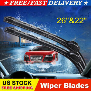 2pcs New 26 22 All Season Premium Oem Bracketless Windshield Wiper Blades Us