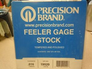 Precision 0 016 Inch Thick X 25 Ft Long X 1 2 Inch Wide Feeler Gage Stock Rol