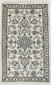 Small Classic Hand Knotted Floral Nain 2x4 Wool Rug Oriental Home Decor Carpet