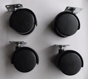 Twin Wheel Casters 2 1 2 Black Plastic 4 pcs Pack package