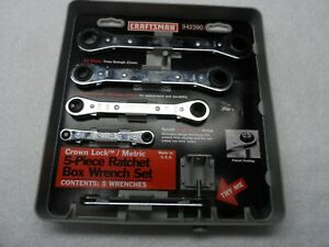 Craftsman Flat Metric Crown Lock Ratcheting Box end Wrench Set Part 42390