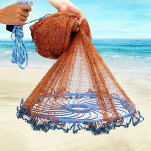 Upgraded Flying Disc American Hand Cast Fishing Net with Lead Sinkers Throw $125.47