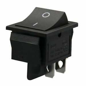 2x Black Rocker Switches 4 pin Dpst On off Snap in 15a 250v 20a 125v Ac