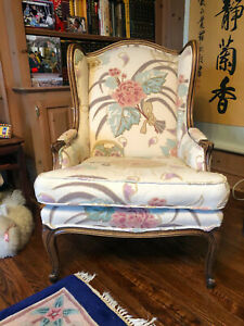 Baker Furniture Floral Wingback Chair Antique In Excellent Condition