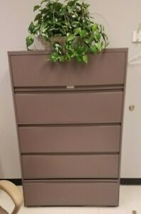 Hon 695ll 600 Series Five drawer Lateral File 42w X 19 D Brown Xlnt Local Only